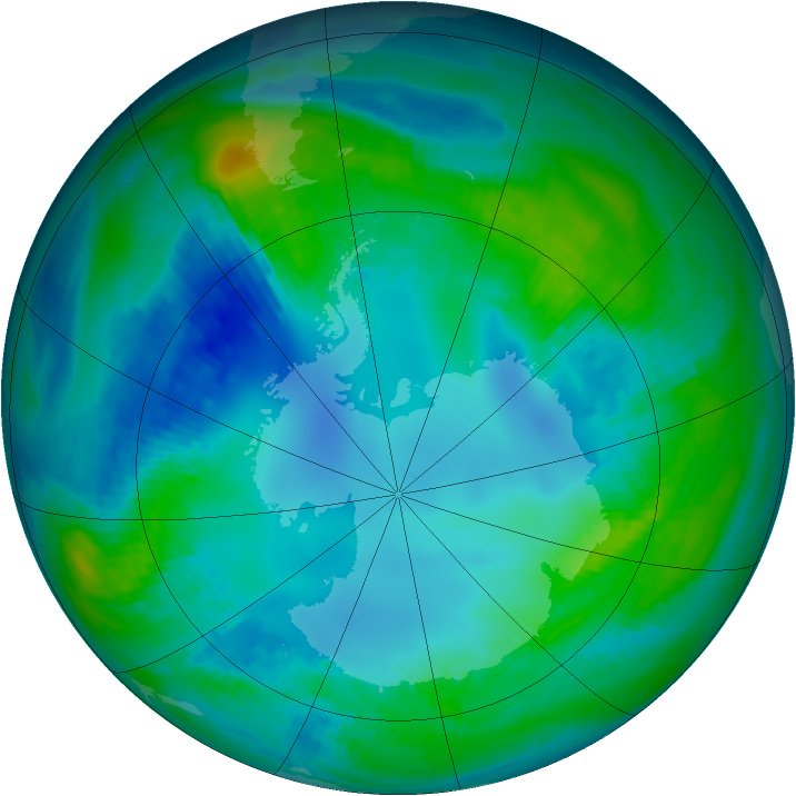 Antarctic ozone map for 03 May 1984